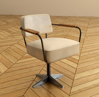 swiveling desk chair jean prouve 3d max