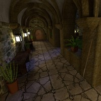 3d monastery night model