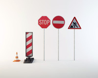 road work sign 3d obj