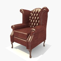 seater dark leather scroll 3d model