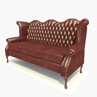 3 seater dark leather 3d 3ds