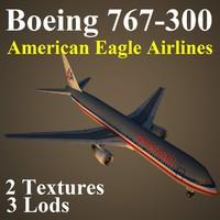 3d boeing 767-300 aal
