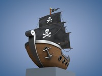 obj cartoon pirate ship
