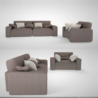 sofa set modern 005 3d model