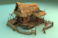 chinese ancient hut house 3d max