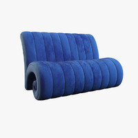 3d model blue fabric sofa
