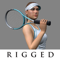 tennis player girl rigged 3d model