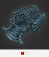 3d model hand painted dungeon entrance