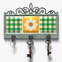 3d tiled key holder hooks
