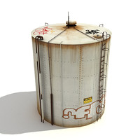 low-poly big water tank model