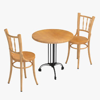 coffee table wooden chairs 3d model