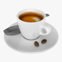 espresso cup spoon coffee bean 3d 3ds