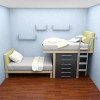 bed bedroom 3d max