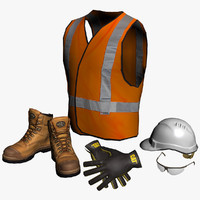 3d cat safety boots gloves model