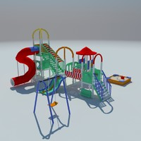 Children playground sandbox low poly
