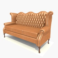 3 seater scroll sofa chair 3d model