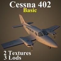 cessna 402 basic aircraft 3d max