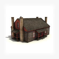 3d low-poly wooden house building model
