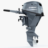 3d model yamaha f15 portable outboard engine