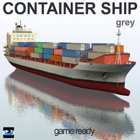 3d ship grey container