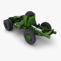 3d model old style generic truck chassis