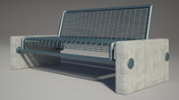 3d bench photorealistic model