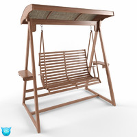 chair swing wood 3d model