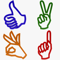 3d icon hand gesture model