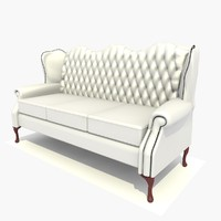 3d model 3 seater classic chair