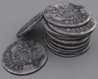 antique 1912 coin 3d model