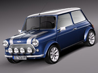 3d car classic antique mini morris