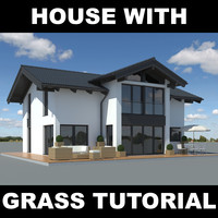 3d family house realistic grass model