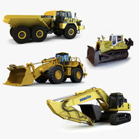 4 construction vehicles mining 3d model