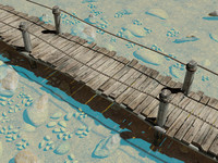 realistic small wooden bridge 3d max