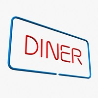 3d model diner neon sign
