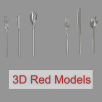 3d silverware fork knife