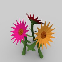 3d model flowers zinnias daisies