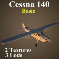 3d model cessna 140 basic