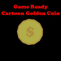 cartoon golden coin 3d model