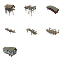 wooden bridges 3d model