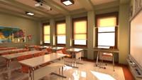 classroom elementary school 3d max