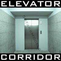 3d elevator doors lobby hall model