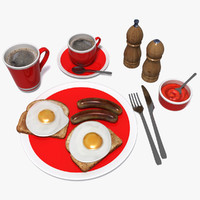 fried breakfast 3d model