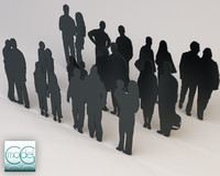 silhouette people 3d model