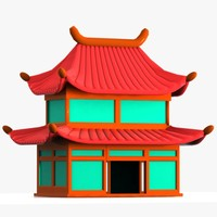 3d max car chinese house