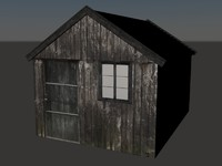 polygonal wood cabin 3d model