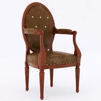 3d fauteuil medaillon armchair model