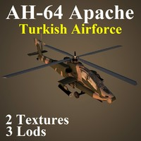 3d ah-64 apache taf attack helicopter model