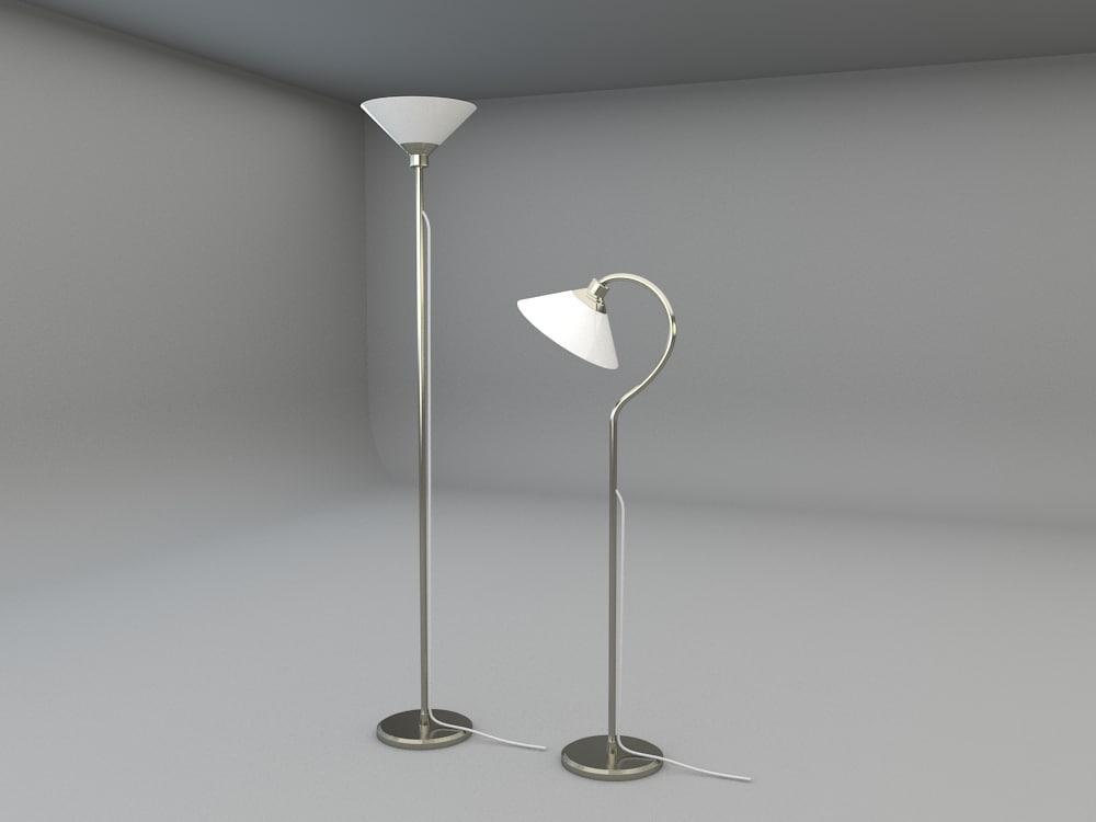 Ikea kroby floor uplight 3d model for Reading lamp floor model