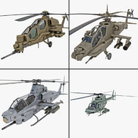 3d rigged military helicopter model